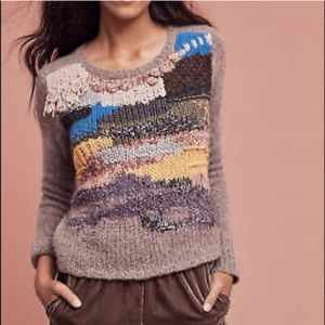 Hand Knit By Dollie Colorful Fringe Collar Sweater